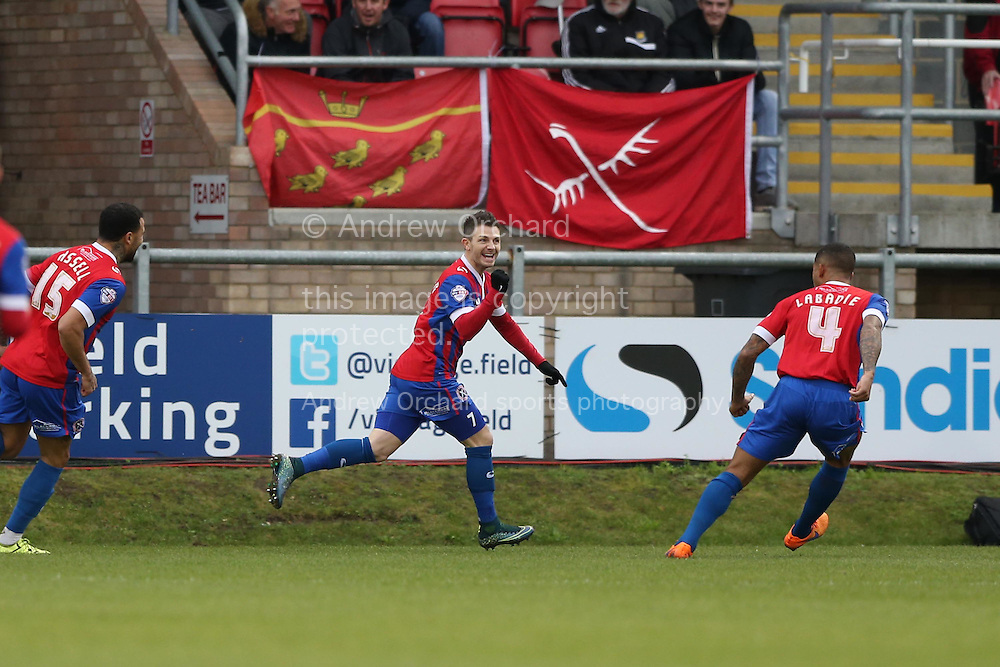 Jamie Cureton of Dagenham &amp; Redbridge &copy; celebrates after he scores his sides 1st goal of the match. The Emirates FA Cup, 2nd round match, Dagenham &amp; Redbridge v Whitehawk FC at the The London Borough of Barking &amp; Dagenham Stadium in London on Sunday 6th December 2015.<br /> pic by John Patrick Fletcher, Andrew Orchard sports photography.