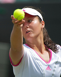 LONDON, ENGLAND - Friday, June 24, 2011: Laura Robson (GBR) in action during the Ladies' Singles 2nd Round match on day five of the Wimbledon Lawn Tennis Championships at the All England Lawn Tennis and Croquet Club. (Pic by David Rawcliffe/Propaganda)