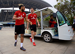NANNING, CHINA - Sunday, March 25, 2018: Wales' captain Ashley Williams and Andy King arrive for a training session at the Guangxi Sports Centre ahead of the 2018 Gree China Cup International Football Championship final match against Uruguay. (Pic by David Rawcliffe/Propaganda)