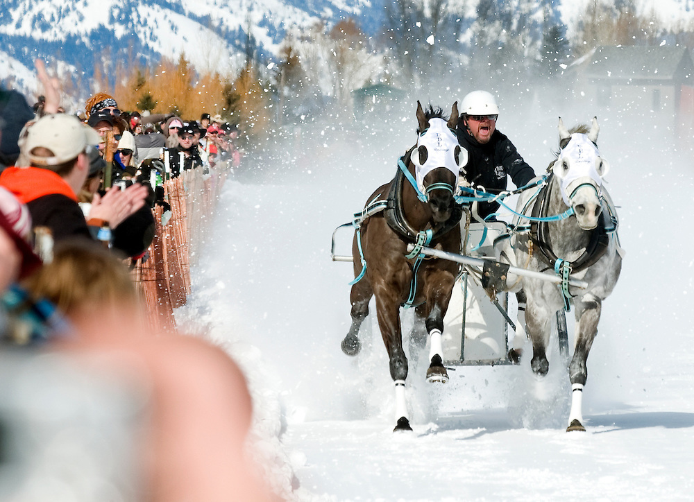 NEWS&GUIDE PHOTO / PRICE CHAMBERS.Dale Levitt screams down the track's red lane Saturday at the 39th annual Cutter Races. The Jackson Hole Shrine Club sponsers the event to raise money for their organization's children's hospitals.