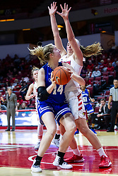 NORMAL, IL - January 03: Megan Talbot blocks the progress of Hattie Westerfeld during a college women's basketball game between the ISU Redbirds and the Sycamores of Indiana State January 03 2020 at Redbird Arena in Normal, IL. (Photo by Alan Look)