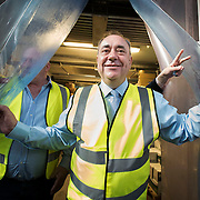 Alex Salmond, as First Minister of Scotland visits a food processing plant in Kilmarnock, the day before the referendum for Scottish Independence takes place.<br /> <br /> &copy; John Linton<br /> All rights reserved
