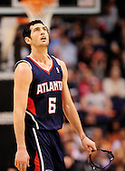 Feb. 15, 2012; Phoenix, AZ, USA;  Atlanta Hawks guard Kirk Hinrich (6) reacts on the court against the Phoenix Suns at the US Airways Center.  The Hawks defeated the Suns 101-99. Mandatory Credit: Jennifer Stewart-US PRESSWIRE.