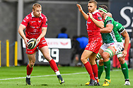 Johnny McNicholl of Scarlets in action during todays match<br /> <br /> Photographer Craig Thomas/Replay Images<br /> <br /> Guinness PRO14 Round 3 - Scarlets v Benetton Treviso - Saturday 15th September 2018 - Parc Y Scarlets - Llanelli<br /> <br /> World Copyright &copy; Replay Images . All rights reserved. info@replayimages.co.uk - http://replayimages.co.uk