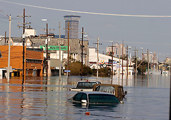 05 Sept  2005. New Orleans, Louisiana. Post hurricane Katrina.<br /> A trip to uptown New Orleans along Napolean Ave and the crossroads with the usually busy main road that is Carrolton Ave. Reflections of a city that used to be. Devastating floods in Uptown New Orleans.<br /> Photo; ©Charlie Varley/varleypix.com