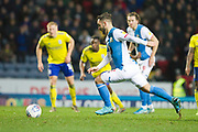 Blackburn Rovers forward Adam Armstrong score from the penalty spot to make it 1-0 during the EFL Sky Bet Championship match between Blackburn Rovers and Birmingham City at Ewood Park, Blackburn, England on 26 December 2019.