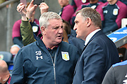 Aston Villa Manager, Steve Bruce and Blackburn Rovers Manager, Tony Mowbray during the EFL Sky Bet Championship match between Blackburn Rovers and Aston Villa at Ewood Park, Blackburn, England on 29 April 2017. Photo by Mark Pollitt.