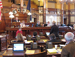 February 6, 2018 - Topeka, KS, USA - The Kansas Senate approves a resolution condemning pornography on Tuesday, Feb. 6, 2018. Sen. Mary Pilcher-Cook, standing, said porn objectifies women and leads to other problems. (Credit Image: © Jonathan Shorman/TNS via ZUMA Wire)