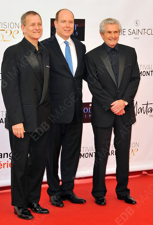 10.JUNE.2012. MONACO<br /> <br /> PRINCE ALBERT OF MONACO, FRANCIS HUSTER AND CLAUDE LELOUCH ATTEND THE OPENING CEREMONY OF THE 52ND MONTE CARLO TELEVISION FESTIVAL HELD AT THE GRAMALDI FORUM.  <br /> <br /> BYLINE: EDBIMAGEARCHIVE.CO.UK<br /> <br /> *THIS IMAGE IS STRICTLY FOR UK NEWSPAPERS AND MAGAZINES ONLY*<br /> *FOR WORLD WIDE SALES AND WEB USE PLEASE CONTACT EDBIMAGEARCHIVE - 0208 954 5968*
