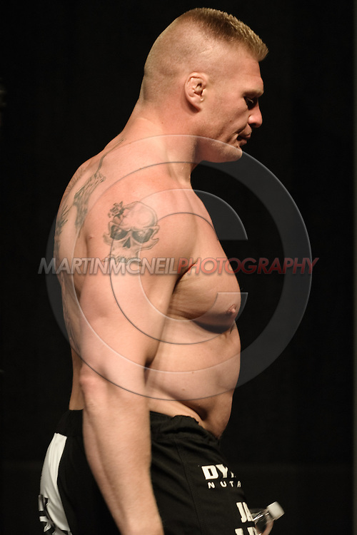 LAS VEGAS, NEVADA, JULY 10, 2009: Brock Lesnar exits the arena after the weigh-in for UFC 100 inside the Mandalay Bay Events Center in Las Vegas, Nevada