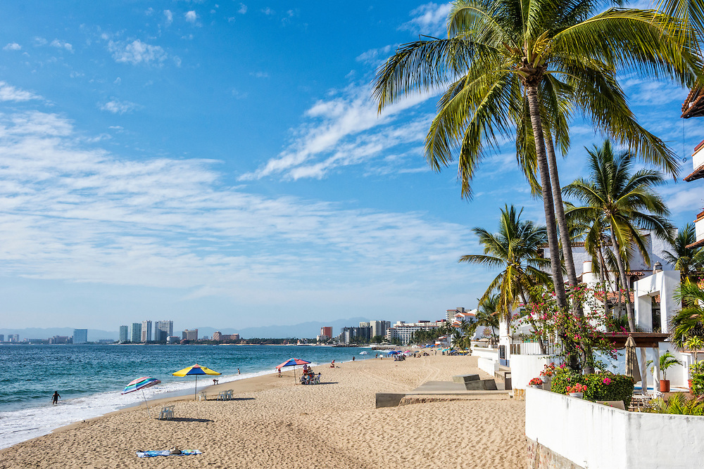 Shrimp Beach (Playa Camarones), from the north end of the Malecon in Puerto Vallarta, Jalisco, Mexico.