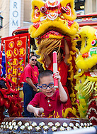A young drummer performs during a parade to celebrate the upcoming Spring Festival or Chinese New Year at The Americana at Brand in Glendale, California, Sunday, February 15, 2015. <br /> (Photo by Ringo Chiu/PHOTOFORMULA.com)
