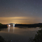 Starry sky over Summersville Lake and Dam. Nicholas County, West Virginia.