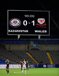 ASTANA, KAZAKHSTAN - Sunday, September 17, 2017: The stadium scoreboard records Wales' 1-0 victory over Kazakhstan during the FIFA Women's World Cup 2019 Qualifying Round Group 1 match between Kazakhstan and Wales at the Astana Arena. (Pic by David Rawcliffe/Propaganda)