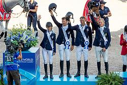 Team Sweden, Silver medal, Malin Baryard-Johnsson, Henrik von Eckermann, Peder Fredricson, Fredrik Jönsson, Henrik Ankarcrona <br /> World Equestrian Games - Tryon 2018<br /> © Hippo Foto - Dirk Caremans<br /> 21/09/2018