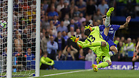 Football - 2016/2017 Premier League - Chelsea V West Ham United. <br /> <br /> Thibaut Courtois and Oscar of Chelsea are powerless to stop James Collins effort as West Ham equalise at Stamford Bridge.<br /> <br /> COLORSPORT/DANIEL BEARHAM
