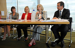 © licensed to London News Pictures. LONDON. UK  14/09/11. (L-R) Judith Nelson, Katja Hall, Theresa May and chair John Heaps sit on a panel of leading business women. Home Secretary and Minister for Women and Equalities, Theresa May, launches 'Voluntary Gender Equality Analysis and Reporting' guidance for employers at Eversheds law firm in Central London today (14 Sept 2011). Photo credit should read Stephen SImpson/LNP