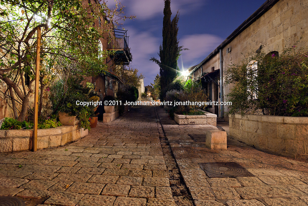 The guesthouses of Mishkenot Shaananim in Yemin Moshe, Jerusalem at night. WATERMARKS WILL NOT APPEAR ON PRINTS OR LICENSED IMAGES.