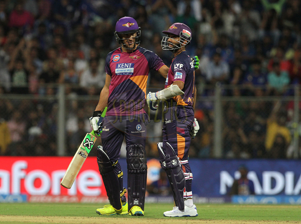 Rising Pune Supergiants player Faf du Plesis  and Rising Pune Supergiants player Ajinkya Rahane during match 1 of the Vivo Indian Premier League ( IPL ) 2016 between the Mumbai Indians and the Rising Pune Supergiants held at the Wankhede Stadium in Mumbai on the 9th April 2016<br /> <br /> Photo by Vipin Pawar/ IPL/ SPORTZPICS