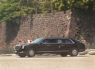 "May 27, 2019, Tokyo, Japan: President Trump's motorcade passes through the Nijubashi Bridge or ""Twin Bridges"" gate during a visit to the Imperial Palace to meet the new Japanese emperor, Naruhito (Trump's car is the second identical limo). This was during his official state visit to Japan. The President and First Lady were greeted by the royal couple which was the first time the new emperor officially met with a world leader. Naruhito ascended the throne only three weeks earlier on May 1st. Photo by Torin Boyd."