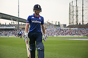England Eoin Morgan is out for 88 and walks back to the pavilion during the Royal London One Day International match between England and New Zealand at the Oval, London, United Kingdom on 12 June 2015. Photo by Phil Duncan.