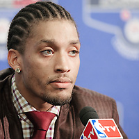 04 October 2010:  Minnesota Timberwolves forward Michael Beasley is seen during a press conference following the Minnesota Timberwolves 111-92 victory over the Los Angeles Lakers, during 2010 NBA Europe Live, at the O2 Arena in London, England.