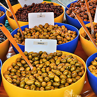 Olive Varieties in Bowls at Outdoor Market in Fréjus, France