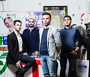 Da sinistra a destra: Alessandro Porrini (22), Giulio Maria Grisotto (25), Stefano Angei, (20) Alberto Nicola (24). Sede Lega Nord di Varese.   From left to right: Alessandro Porrini (22), Giulio Maria Grisotto (25), Stefano Angei, (20) Alberto Nicola (24). Lega Nord party headquarters in Varese.
