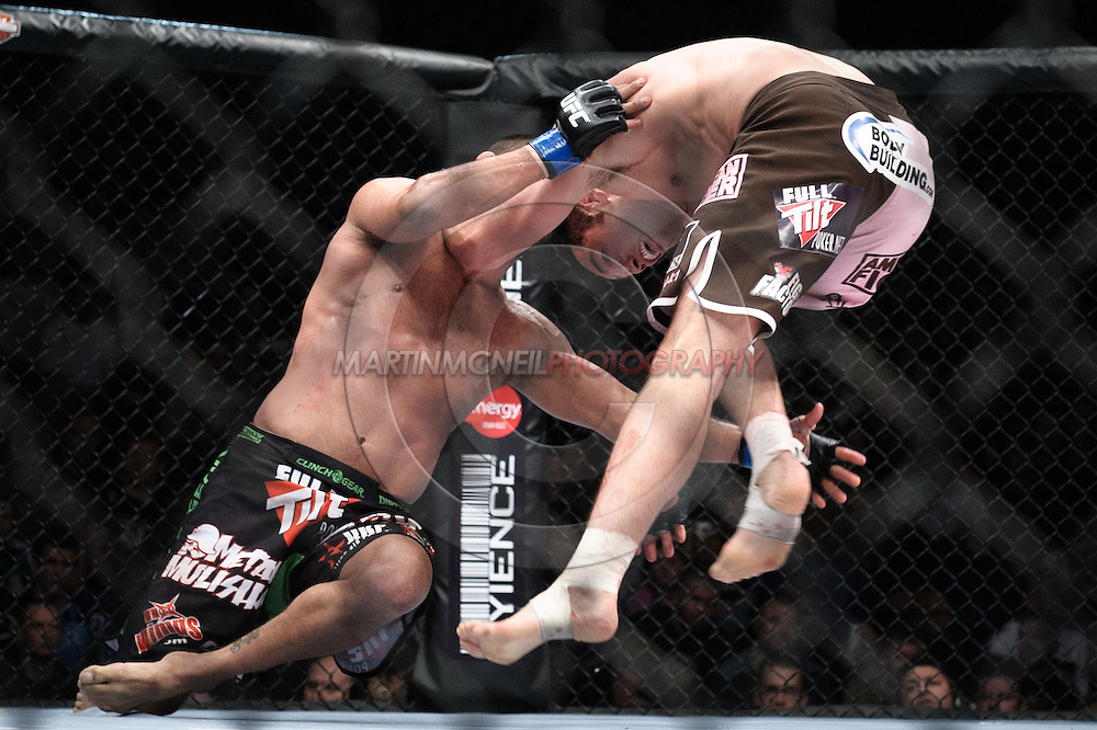 "DUBLIN, IRELAND, JANUARY 17, 2009: Dan Henderson (left) and Rich Franklin during ""UFC 93: Franklin vs. Henderson"" inside the O2 Arena in Dublin, Ireland"