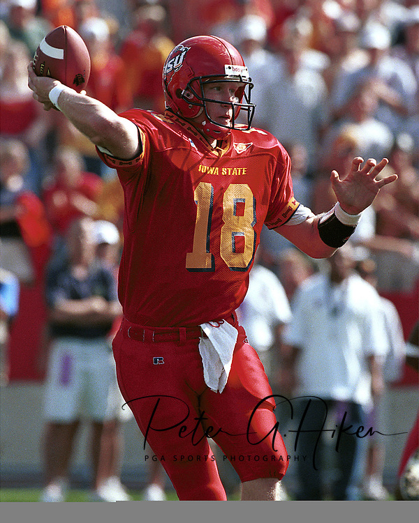 Iowa State quarterback Sage Rosenfels during game action against Kansas State at Jack Trice Stadium in Ames, Iowa in 1999.