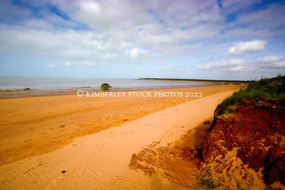 Pindan meets sand at Crab Creek in the Kimberley wet season.