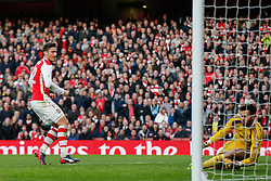 Olivier Giroud of Arsenal looks on as he scores a goal to make it 1-0 - Photo mandatory by-line: Rogan Thomson/JMP - 07966 386802 - 15/02/2015 - SPORT - FOOTBALL - London, England - Emirates Stadium - Arsenal v Middlesbrough - FA Cup Fifth Round Proper.