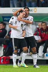 11.10.2011, Esprit Arena, Duesseldorf, GER, UEFA EURO 2012 Qualifikation, Deutschland (GER) vs Belgien (BEL), im Bild Jubel Mesut Özil / Oezil (#8 GER, Real Madrid) und Sami Khedira (#6 GER, Real Madrid) nach dem 1 - 0 durch Mesut Özil / Oezil (#8 GER, Real Madrid) // during the UEFA Euro 2012 qualifying round Germany vs Belgium  at Esprit Arena, Duesseldorf 2011-10-11 EXPA Pictures © 2011, PhotoCredit: EXPA/ nph/  Kurth       ****** out of GER / CRO  / BEL ******