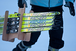 05.01.2011, Nordic Arena, Toblach, ITA, FIS Cross Country, Tour de Ski, Qualifikation Sprint Women and Men, im Bild Sericemann trägt Skier, feature mit Fischer Langlaufski, Fischer Cross Country Ski. EXPA Pictures © 2011, PhotoCredit: EXPA/ J. Groder
