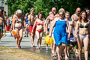 Swimming and diving in the river Aare