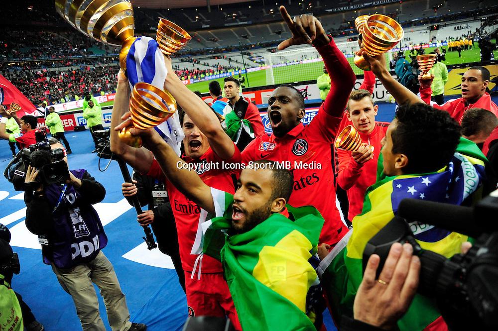 Victoire du PSG /  Edinson CAVANI / Blaise MATUIDI / LUCAS MOURA / MARQUINHOS - 11.04.2015 -  Bastia / PSG - Finale de la Coupe de la Ligue 2015<br />Photo : Dave Winter / Icon Sport