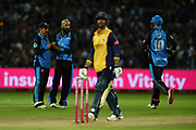 Daryl Mitchell,and Moeen Ali of Worcestershire Rapids celebrate the wicket of Ryan ten Doeschate during the Vitality T20 Finals Day 2019 match between Worcestershire County Cricket Club and Essex County Cricket Club at Edgbaston, Birmingham, United Kingdom on 21 September 2019.