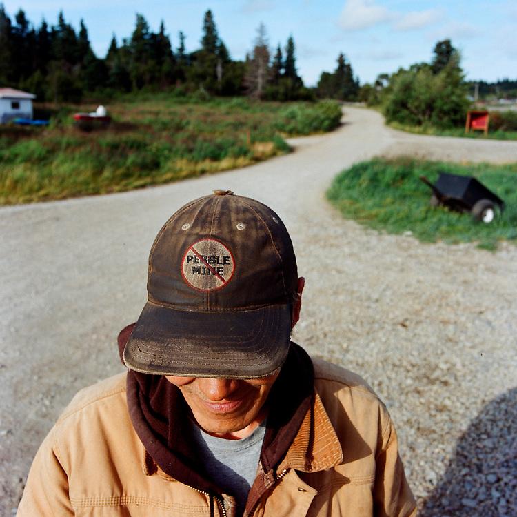 Kokhanok, Alaska<br /> Aug. 10, 2017<br /> <br /> A Kokhanok resident displays his &ldquo;No Pebble Mine&rdquo; cap.