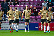 Sam Cosgrove (#16) of Aberdeen FC celebrates after scoring a goal from a penalty during the Betfred Scottish Football League Cup quarter final match between Heart of Midlothian FC and Aberdeen FC at Tynecastle Stadium, Edinburgh, Scotland on 25 September 2019.