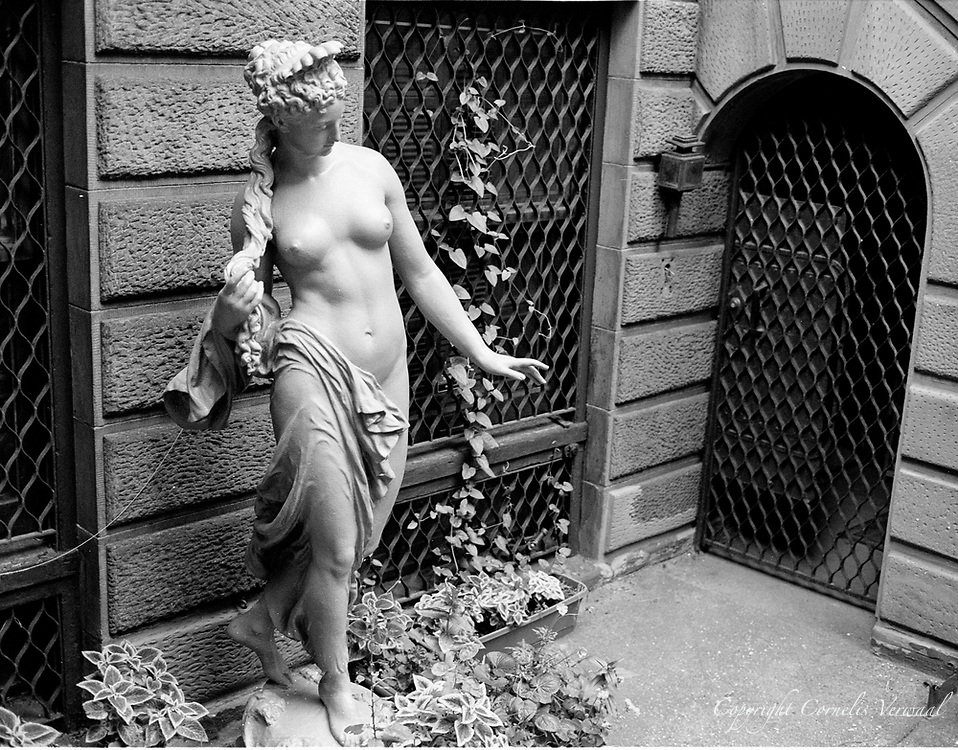 A nude adorning a townhouse on East 80th street, New York City