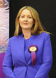 © Licensed to London News Pictures. 08/05/2015<br /> Local Parliamentary Elections TONIGHT (08.05.2015)<br /> <br /> Catriona Brown-Reckless,  is now a UKIP Councillor for Strood South after her win tonight at the Local election count in Medway,Kent<br /> <br /> Local Election count 2015 Count in Medway, Kent at Medway Park Sports Centre,Gillingham.<br />  <br /> (Byline:Grant Falvey/LNP)