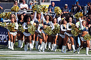 The Los Angeles Chargers cheerleaders run onto the field before the 2017 NFL week 1 preseason football game against the Seattle Seahawks, Sunday, Aug. 13, 2017 in Carson, Calif. The Seahawks won the game 48-17. (©Paul Anthony Spinelli)