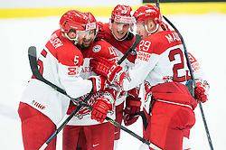 Daniel Nielsen, Nichlas Hardt, Julian Jakobsen and Morten Madsen of Denmark celebrate after scoring third goal during Ice Hockey match between Slovakia and Denmark at Day 2 in Group B of 2015 IIHF World Championship, on May 2, 2015 in CEZ Arena, Ostrava, Czech Republic. Photo by Vid Ponikvar / Sportida