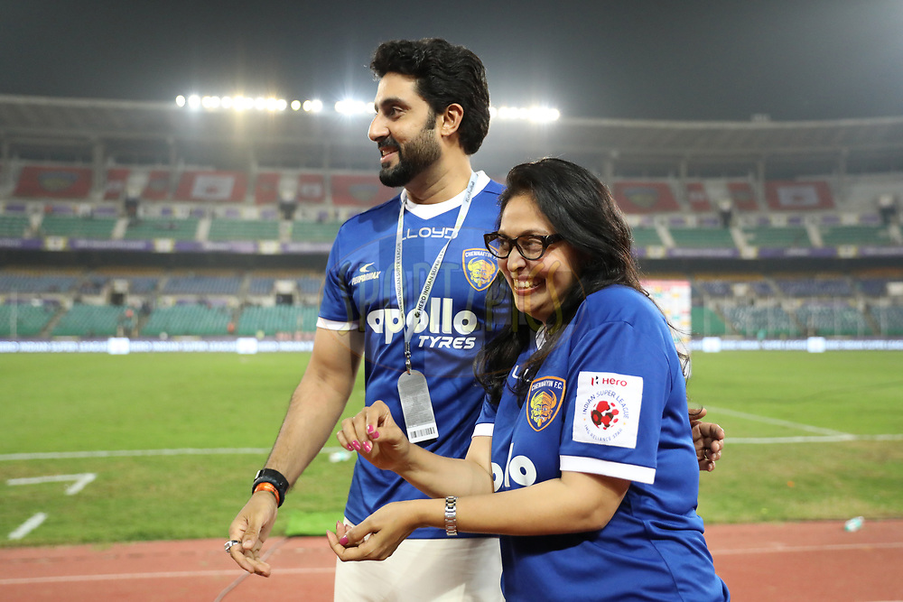 Abhishek Bachchan,Vita Dani owner of Chennaiyin FC during match 6 of the Hero Indian Super League between Chennaiyin FC and NorthEast United FC held at the Jawaharlal Nehru Stadium, Chennai India on the 23rd November 2017<br /> <br /> Photo by: Arjun Singh  / ISL / SPORTZPICS