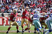 San Francisco 49ers quarterback Blaine Gabbert (2) throws to a receiver against the Dallas Cowboys at Levis Stadium in Santa Clara, Calif., on October 2, 2016. (Stan Olszewski/Special to S.F. Examiner)