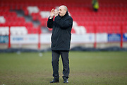 Accrington Stanley Manager John Coleman applauds the fans at full time during the EFL Sky Bet League 1 match between Accrington Stanley and Southend United at the Fraser Eagle Stadium, Accrington, England on 23 February 2019.