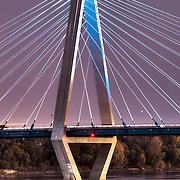 Bond Bridge over the Missouri River in Kansas City, Missouri lit Royal Blue for the Kansas City Royals' 2014 World Series run. Taken from Berkely Riverfront Park.