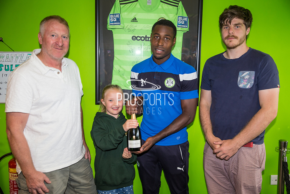Match sponsor Stroud Brewery present Forest Green Rovers Dale Bennett(2) with his MOM award during the EFL Sky Bet League 2 match between Forest Green Rovers and Yeovil Town at the New Lawn, Forest Green, United Kingdom on 19 August 2017. Photo by Shane Healey.