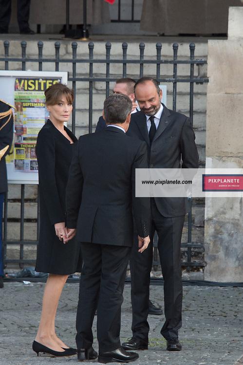 Nicolas Sarkozy_Carla Bruni _Edouard Philippe  Obsèques de Jacques Chirac Lundi 30 Septembre 2019 église Saint Sulpice Paris