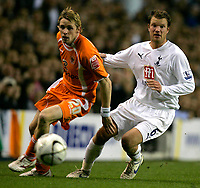 Photo: Tom Dulat.<br /> <br /> Tottenham Hotspur v Blackpool. Carling Cup. 31/10/2007.<br /> <br /> Andy Welch of Blackpool and Teemu Tainio of Tottenham Hotspur with the ball.
